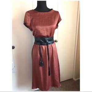 Dresses - Silky rusted copper metallic cap sleeve midi dress